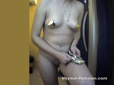 Pv732# Hidden camera in the solarium. Blonde with a beautiful hair on her pussy undressed and spread